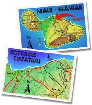 Maui Maps to find the secluded cottage - Hookipa Bayview