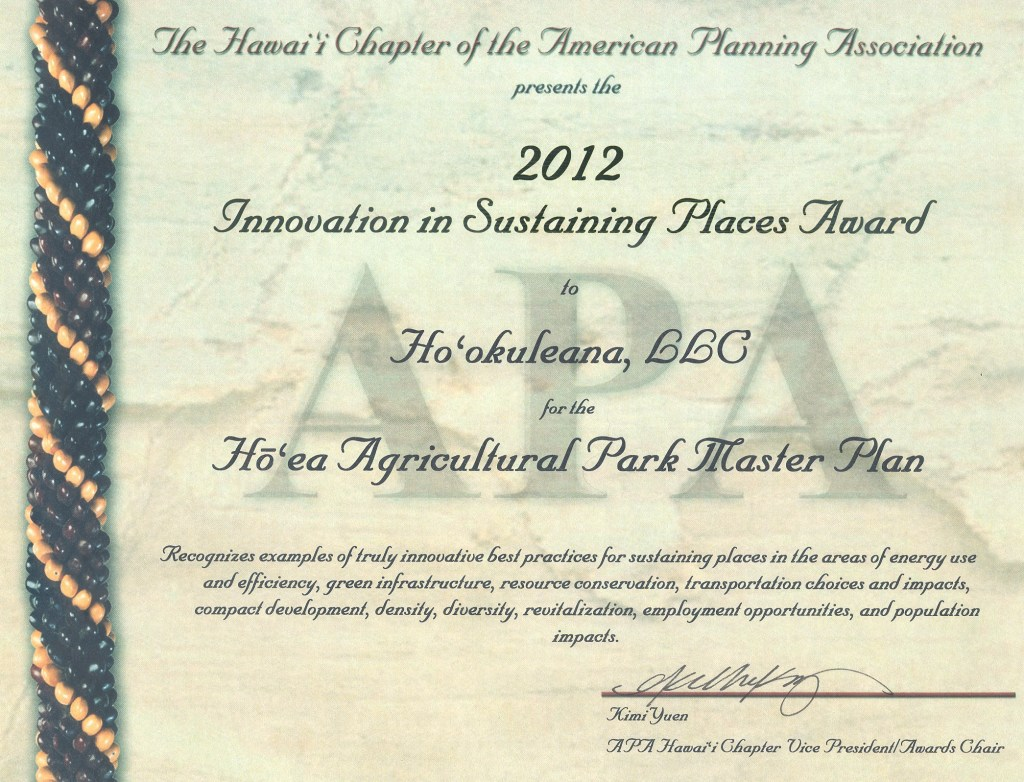 Hookuleana_LLC_Wins_Innovation_in_Sustaining_Places_Award-APA_Hawaii-2012