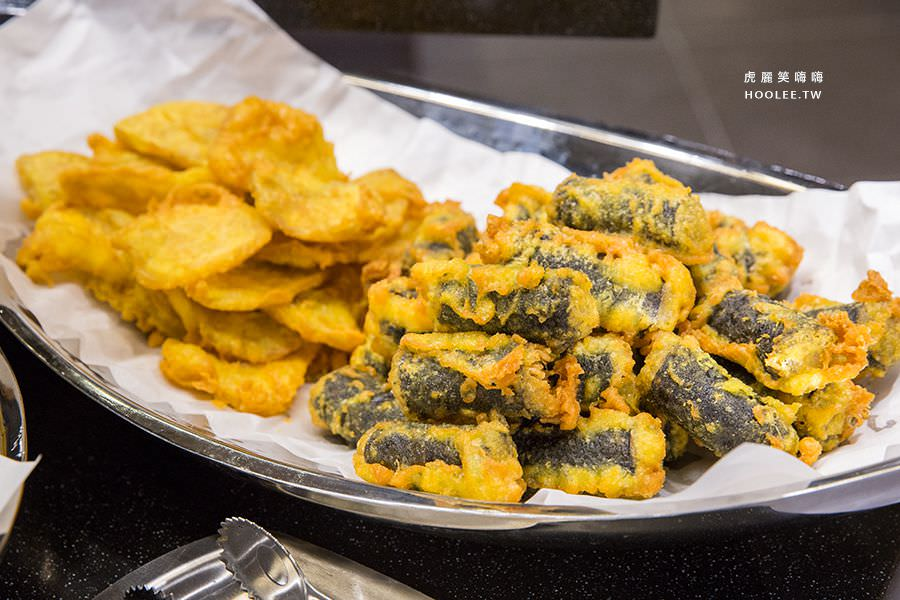 兩餐 高雄 韓國年糕火鍋吃到飽 炸魷魚 炸地瓜 炸海苔捲