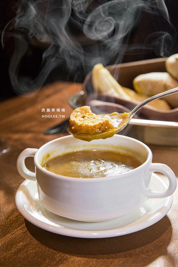 漢來大飯店45樓牛排 炭烤神戶和牛A5肋眼 法式洋蔥湯