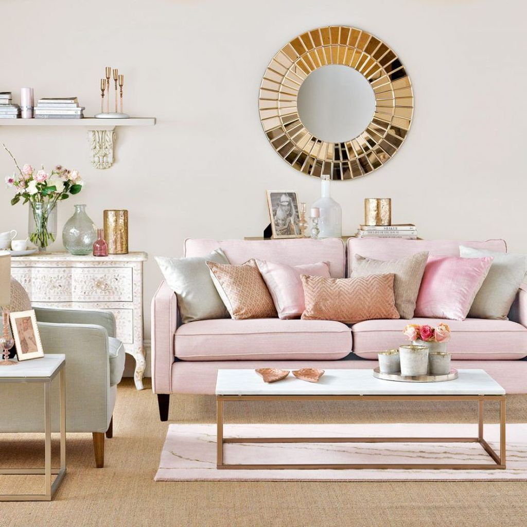 Beautiful Pink Living Room Decor Ideas 14