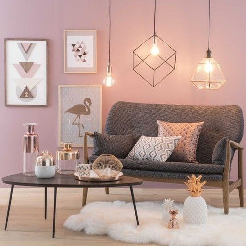 Beautiful Pink Living Room Decor Ideas 19