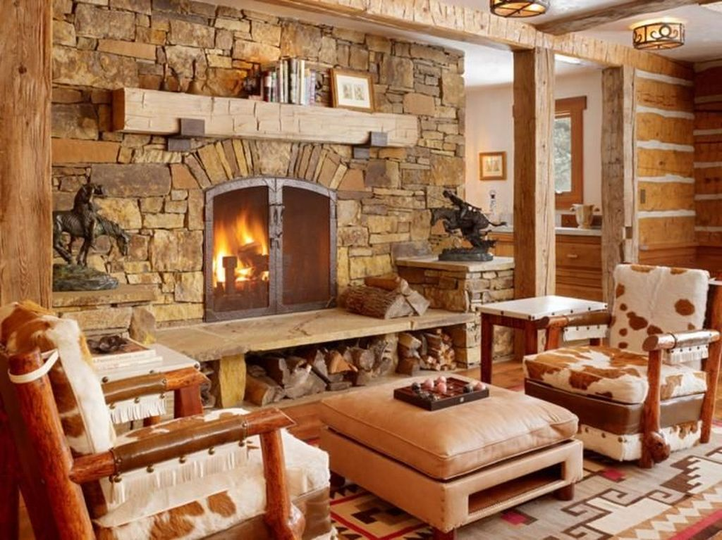 Stunning Lodge Living Room Decor Ideas 02