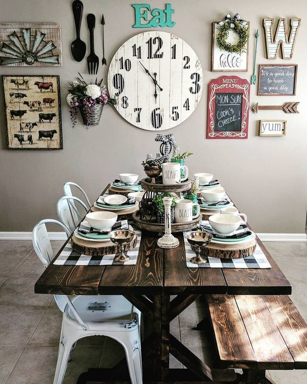 The Best Rustic Dining Room Decoration Ideas 21