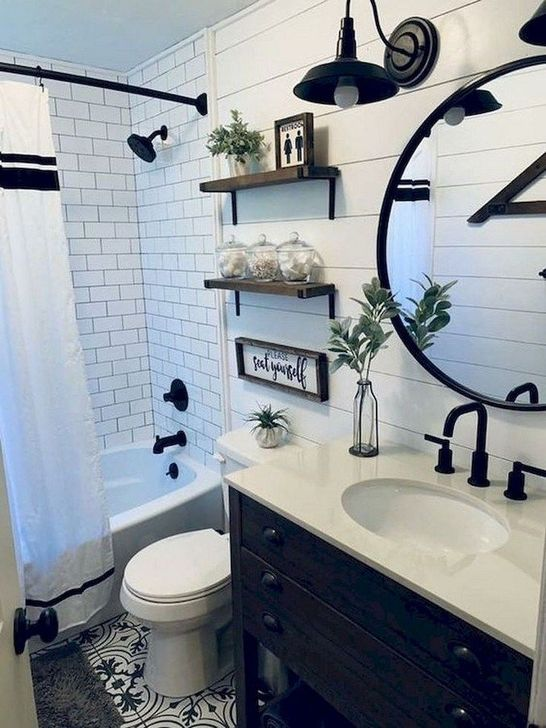 Inspiring Rustic Farmhouse Bathroom Decorating Ideas 19