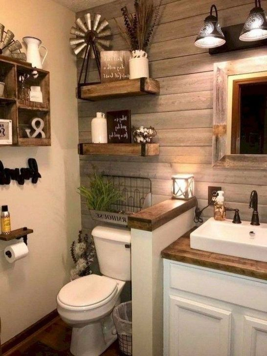Inspiring Rustic Farmhouse Bathroom Decorating Ideas 27