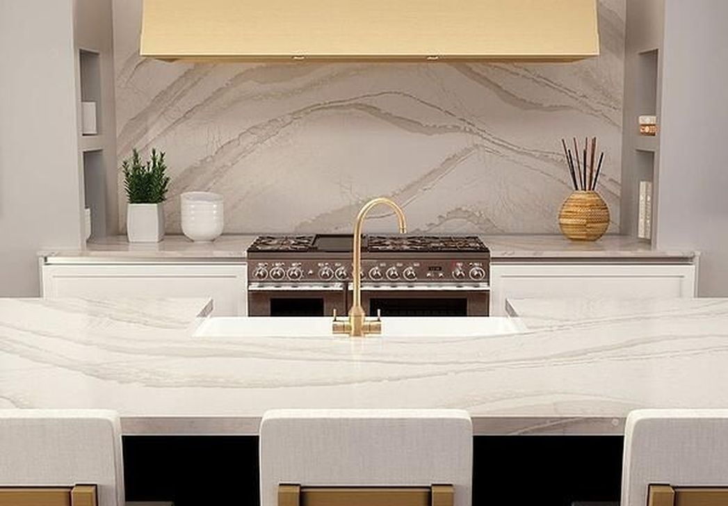Beautiful Quartz Backsplash Kitchen Design Ideas 32