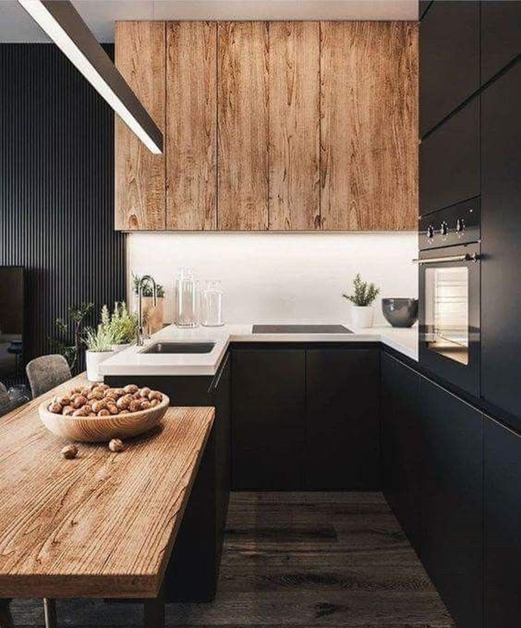 Fabulous Black And White Wood Kitchen Design Ideas 28