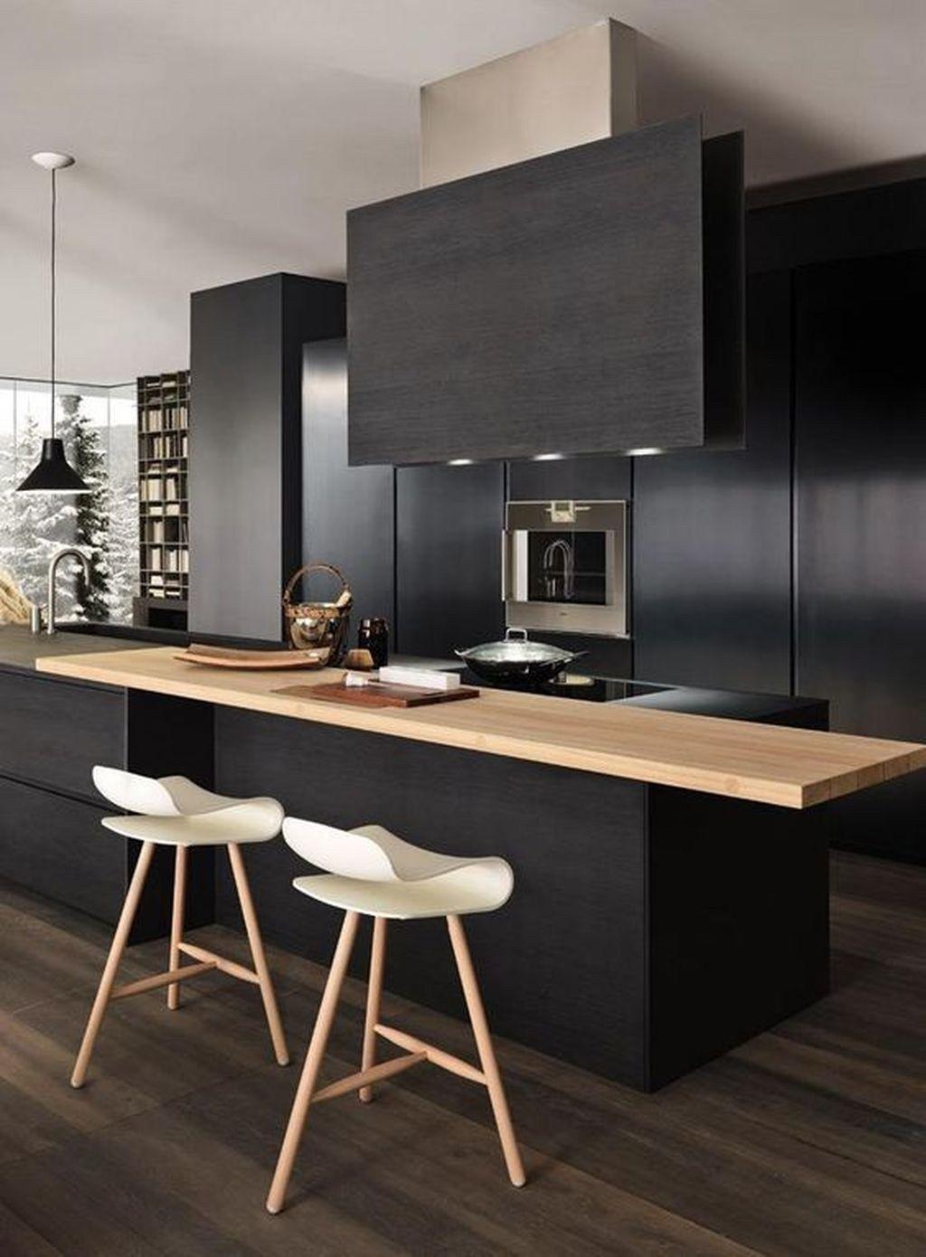 Fabulous Black And White Wood Kitchen Design Ideas 32