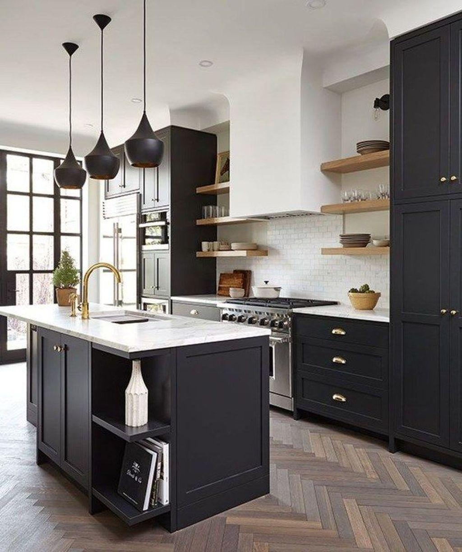 Fabulous Black And White Wood Kitchen Design Ideas 34