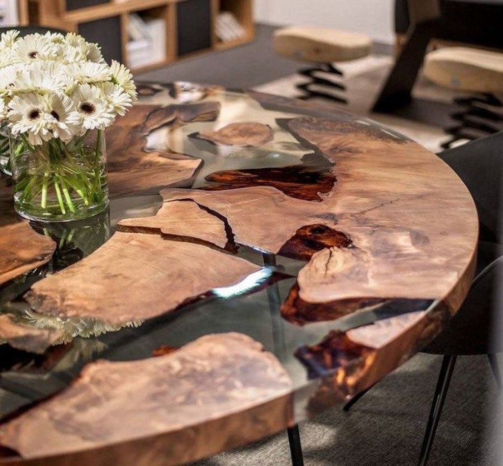 Stunning Resin Wood Table Design Ideas You Will Love 37