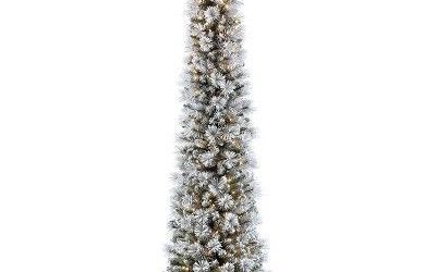 Flocked Pencil Christmas Tree