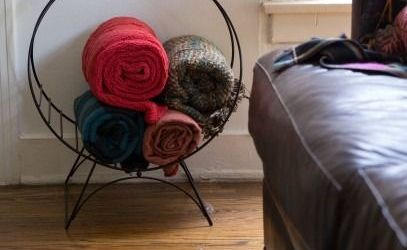 Living Room Blanket Storage