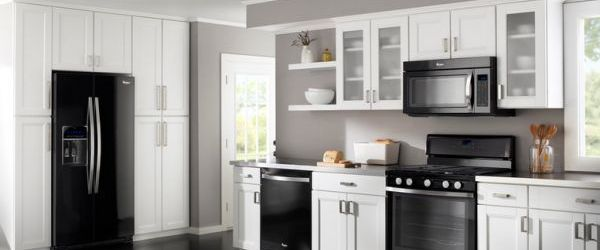 White Kitchen Black Appliances