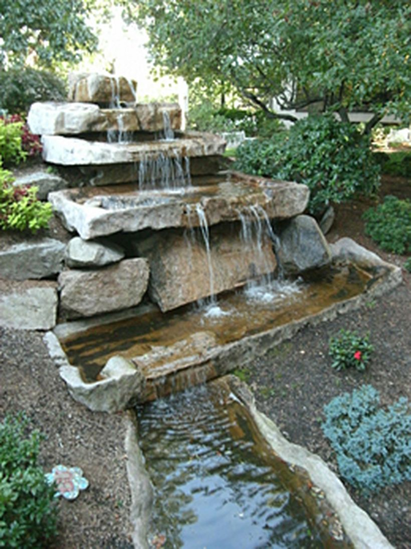 Make a mini waterfall in the garden 8