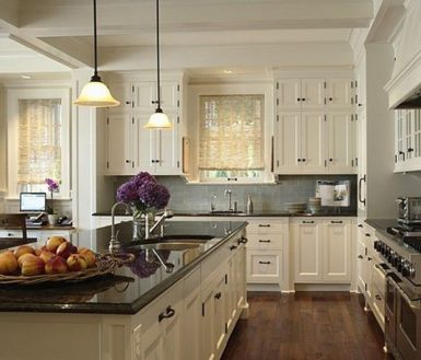 Elegant Kitchen Light Cabinets with Dark Countertops 58