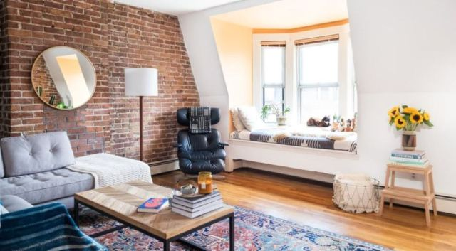 Exposed Brick Wall for Living Room