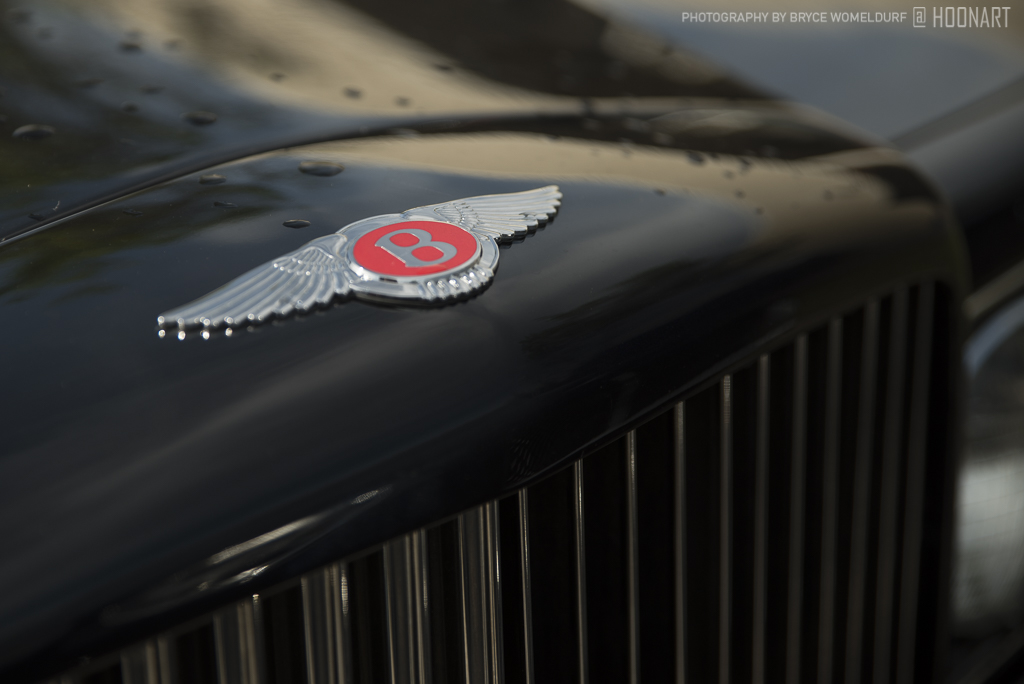 Detail view of the front nose badge on an old Bentley Turbo-R.