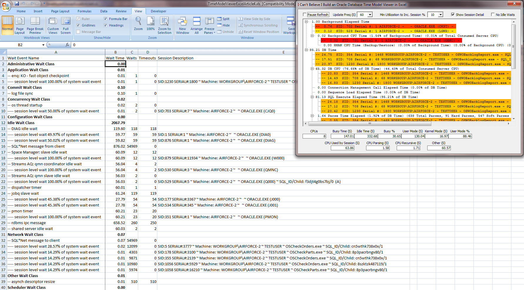 Oracle Database Time Model Viewer In Excel 6