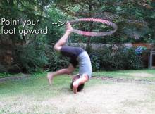 foot hooping forward roll hostels hula hoop tricks