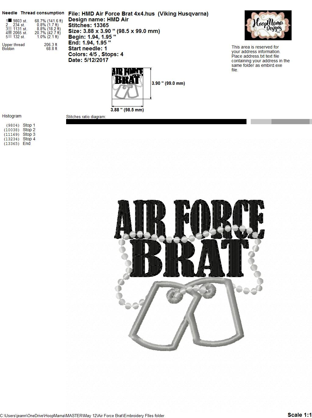 Air Force Brat Embroidery And Cutting Options
