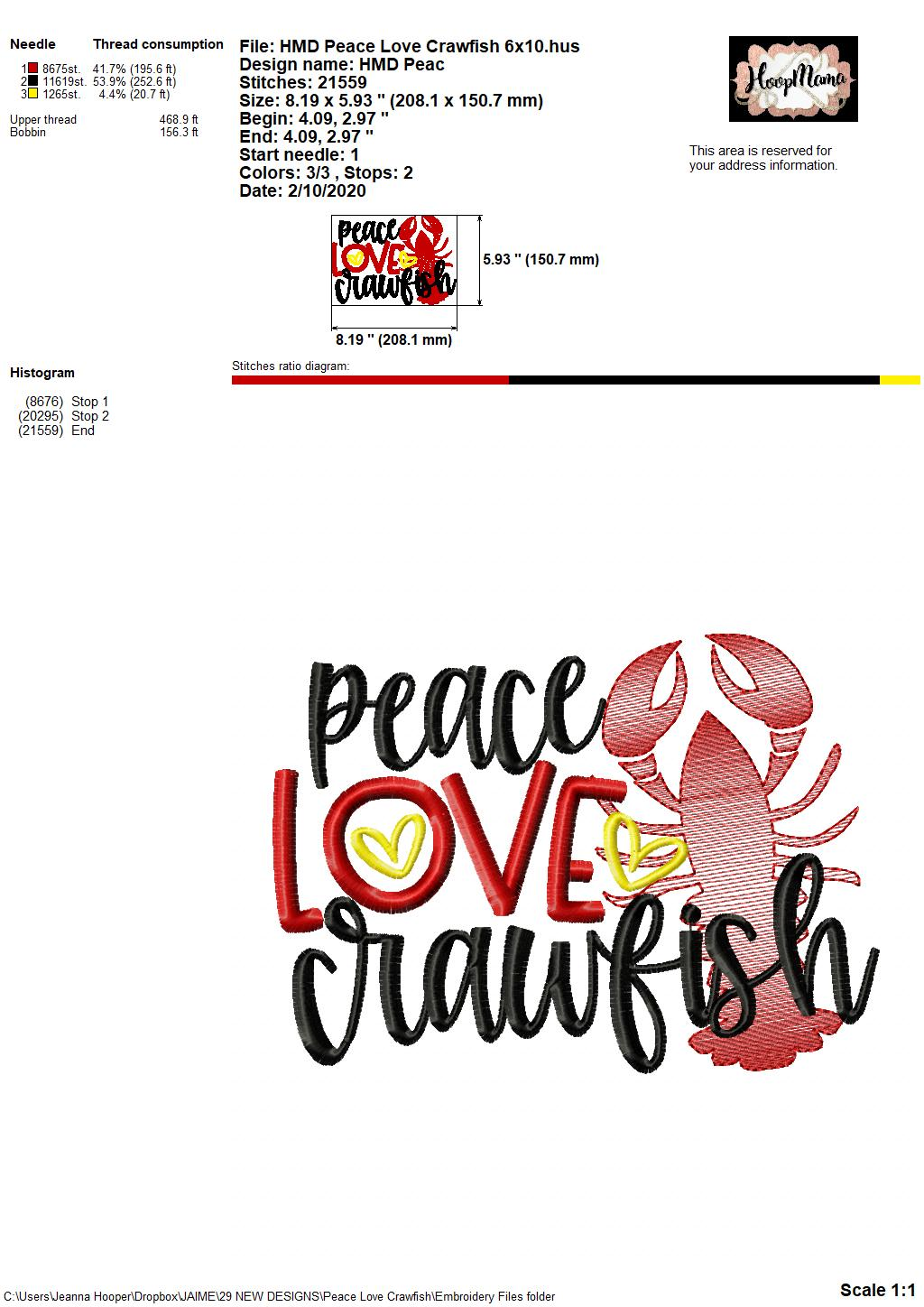 Download Peace Love Crawfish - Embroidery and Cutting Options ...