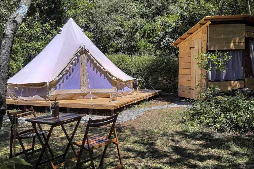 Glamping sleeping in the tent europe montenegro Skadar Lake