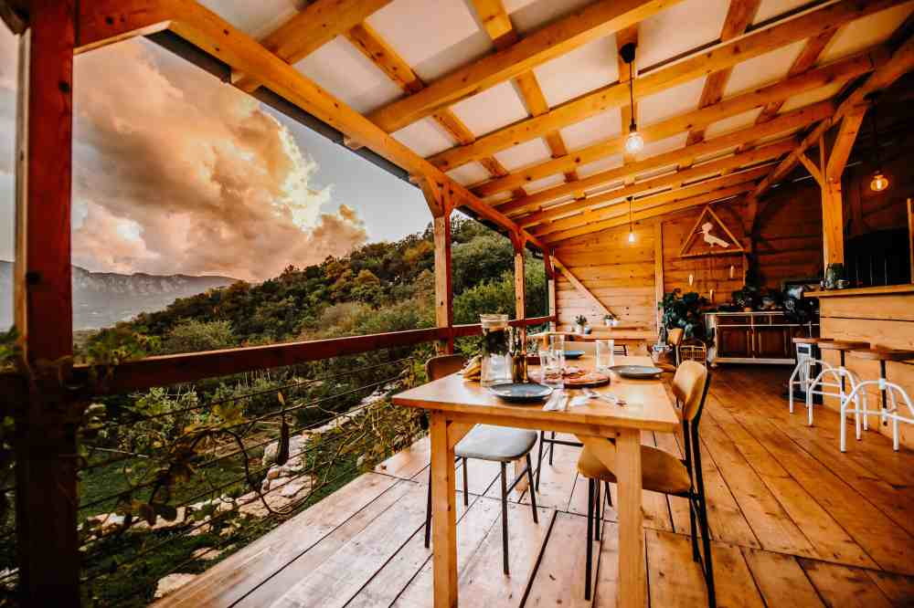 Wooden terrace with a mountain view