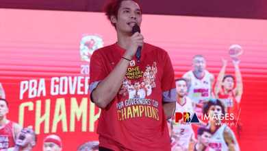"""Photo of Tim Cone on Finals MVP Japeth Aguilar: """"He is going to get better, better, and better"""""""
