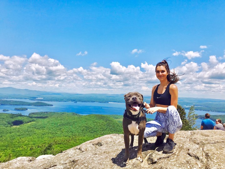 Young girl wearing athletic gear with gray pitbull on top of mountain on a sunny day