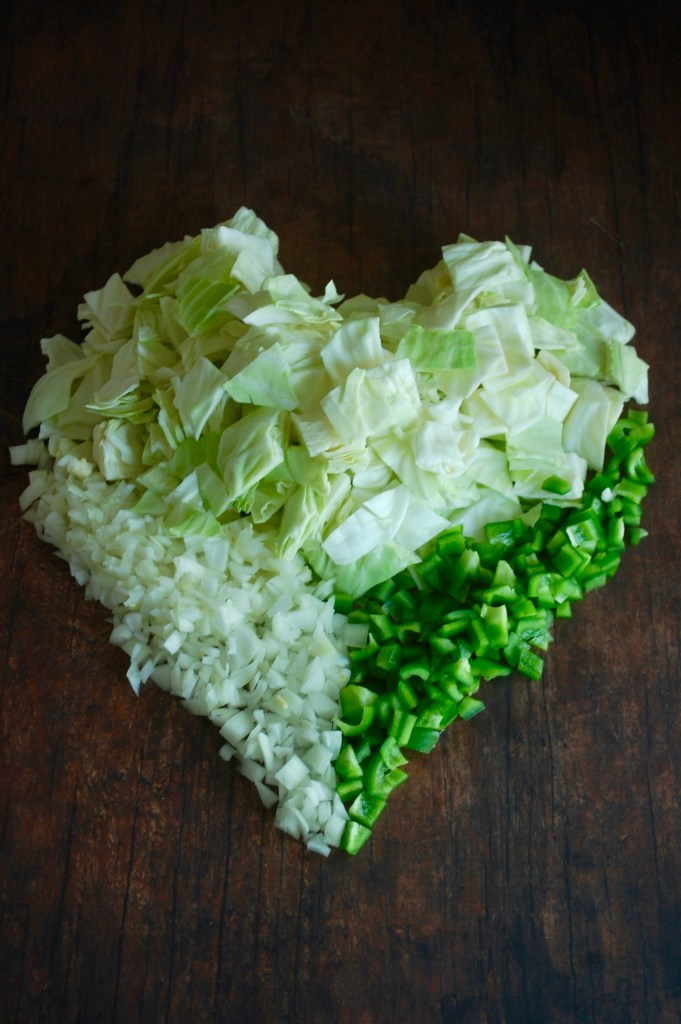 Chop onion, pepper, and cabbage shaped into a heart