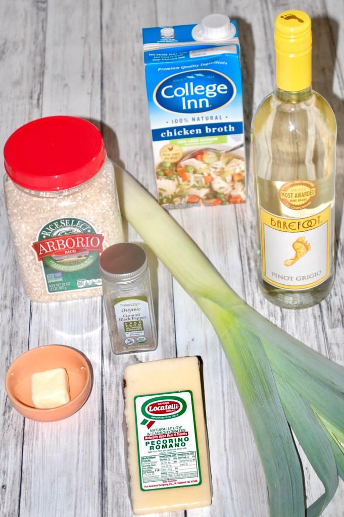 Arborio rice, chicken broth, white wine, leek, pecorino Romano cheese, black pepper, butter