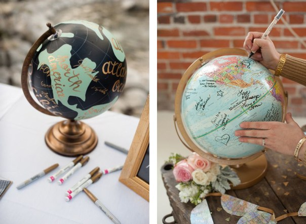 Guest Book Alternatives: Vintage Globe