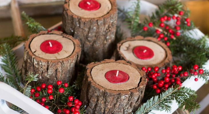 Rustic Wood Candle Holders Holiday Inspiration Hoosier