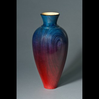 Red to Blue Ash Vase