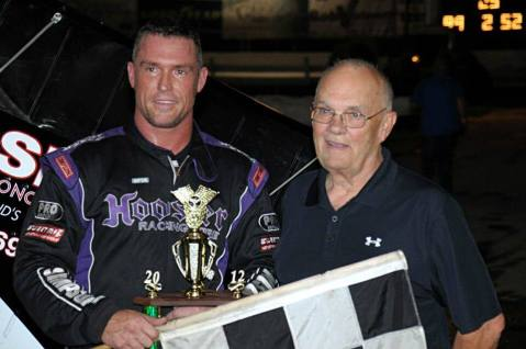 Bob and his son Robert after winning a race