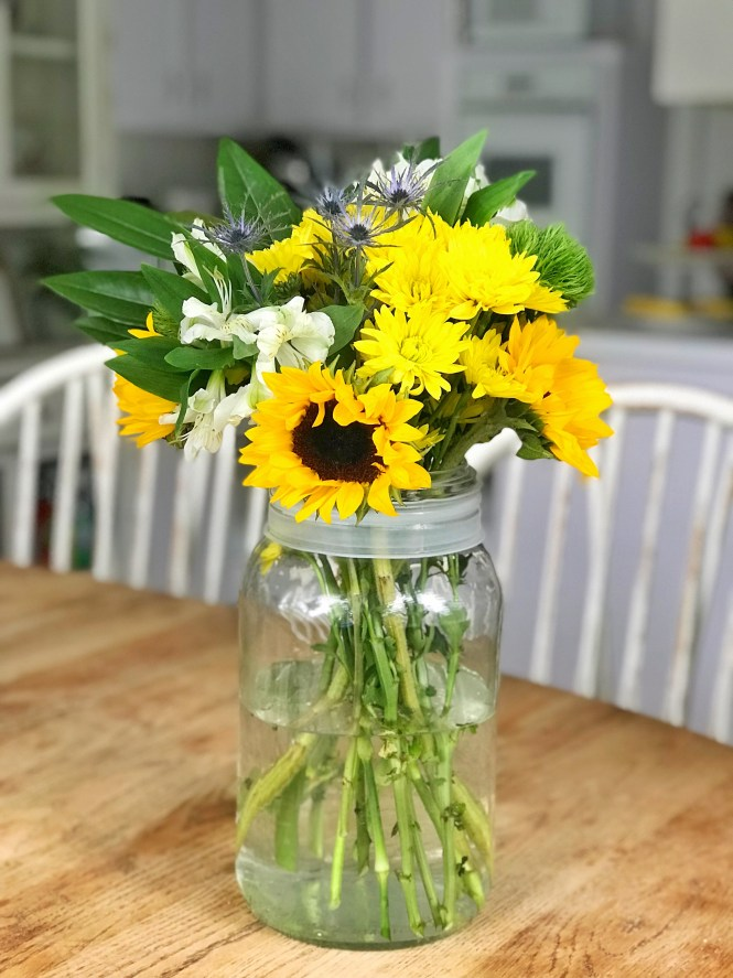 Mason Jar Summer Flowers Bouquet
