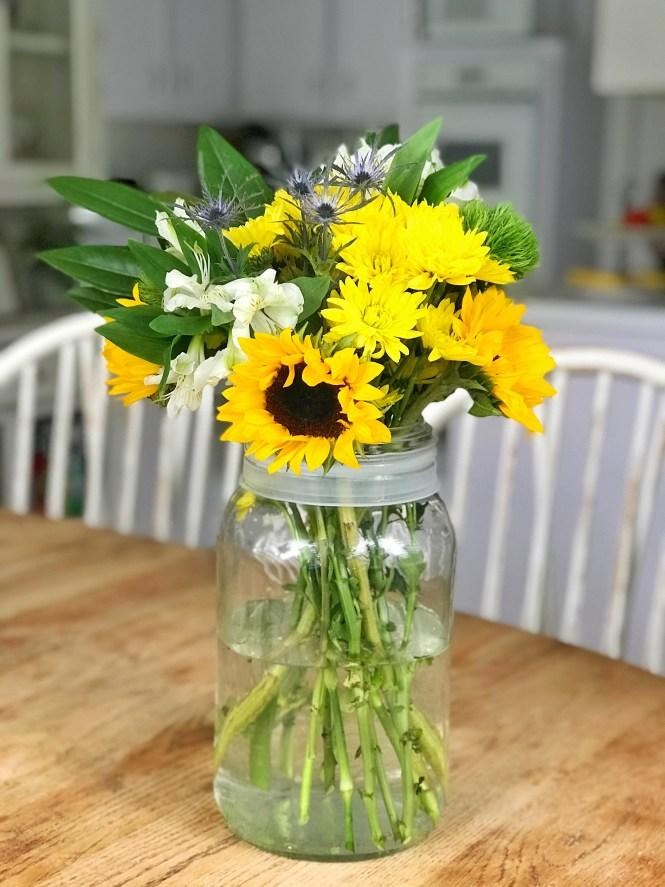 Mason Jar Summer Flowers Bouquet