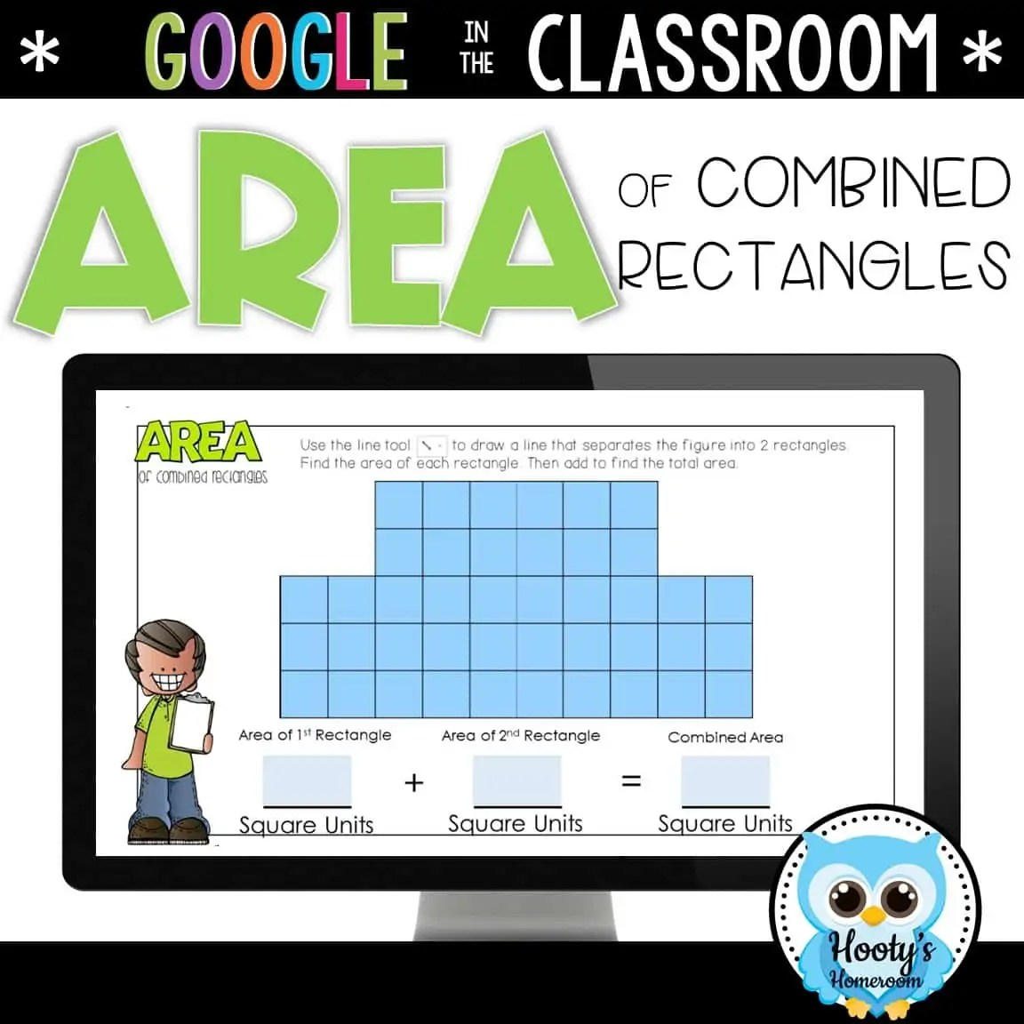 Area Of Composite Rectangles Digital Task Cards