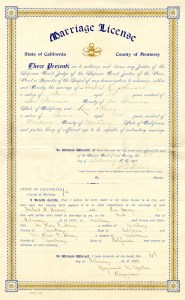 Marriage license of Herbert and Lou Henry Hoover.