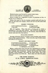 Hominy recipes from the U.S. Food Administration.