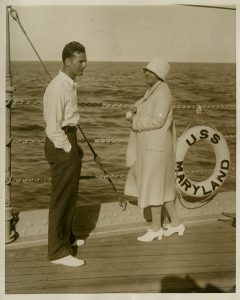 Traveling on the USS Maryland during the Good Will tour, Lou Hoover and her son Allan are enjoying the view. 01/1928