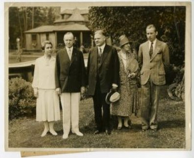 Grace Coolidge, President Calvin Coolidge, Herbert and Lou Hoover at the summer White House in Wisconsin, ca.1928