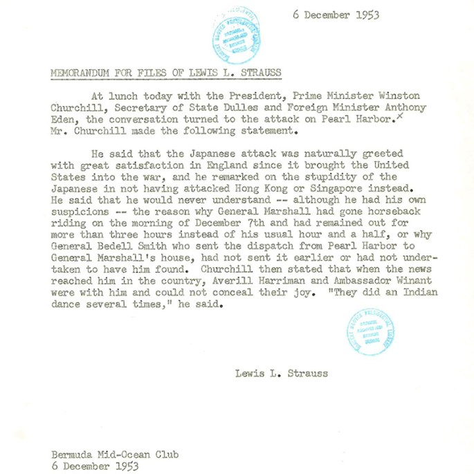 Memorandum for files of Lewis L. Strauss. Dec. 6, 1953