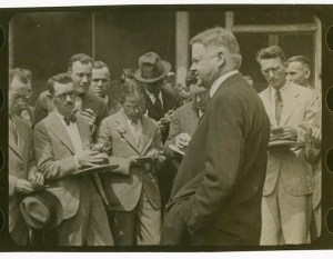 Herbert Hoover with members of the press. ca. 1928