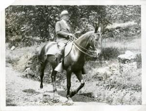 President Herbert Hoover riding Billy at Camp Rapidan.  08.20.1932