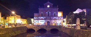 Newry Town Hall goes blue