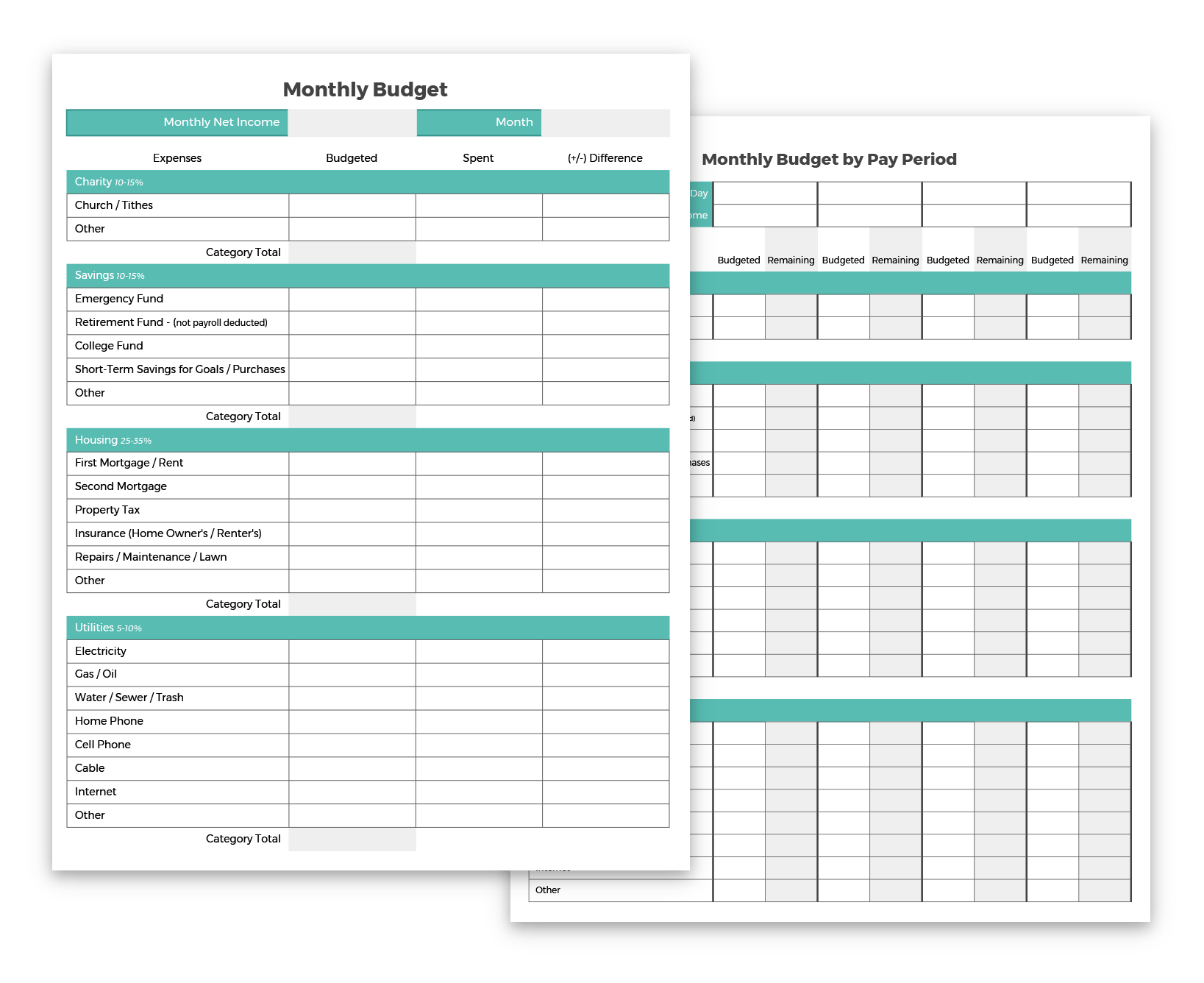 budgeting forms