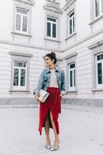Wrap_Skirt-Red_Skirt-Suede-Levis_Vintage_Denim_Jacket-Isabel_Marant_Shoes-Printed_Pumps-Gold_Bracelets-Celine_Classic_Box-Hoop_Earrings-Topknot-Outfit-Street_Style-Vestiaire_Collective-42-790x1185