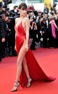 alexandrevauthierBella-Hadid-Cannes-Best-Dressed-2016-Red-Satin-Slip-Dress